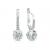 Certified 14k White Gold Dangle Studs 4-Prong Basket Round Diamond Earrings 1.50 ct. tw. (G-H, VS1-VS2)