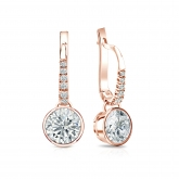 Certified 14k Rose Gold Dangle Studs Bezel Round Diamond Earrings 1.50 ct. tw. (I-J, I1)