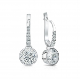 Certified 14k White Gold Dangle Studs Bezel Round Diamond Earrings 1.50 ct. tw. (I-J, I1-I2)