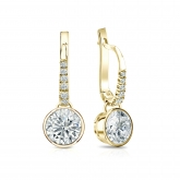 Certified 14k Yellow Gold Dangle Studs Bezel Round Diamond Earrings 1.50 ct. tw. (G-H, VS1-VS2)