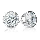 Certified 14k White Gold Bezel Round Diamond Stud Earrings 1.50 ct. tw. (I-J, I1-I2)