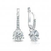 Certified Platinum Dangle Studs 3-Prong Martini Round Diamond Earrings 1.75 ct. tw. (I-J, I1-I2)