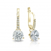 Certified 18k Yellow Gold Dangle Studs 3-Prong Martini Round Diamond Earrings 1.75 ct. tw. (I-J, I1-I2)