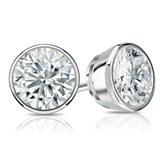 Certified 14k White Gold Bezel Round Diamond Stud Earrings 1.75 ct. tw. (I-J, I1-I2)