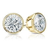 Certified 14k Yellow Gold Bezel Round Diamond Stud Earrings 1.75 ct. tw. (I-J, I1)
