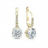Certified 14k Yellow Gold Dangle Studs 4-Prong Basket Round Diamond Earrings 2.00 ct. tw. (H-I, SI1-SI2)