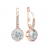 Certified 14k Rose Gold Dangle Studs Bezel Round Diamond Earrings 2.00 ct. tw. (H-I, SI1-SI2)