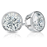 Certified 18k White Gold Bezel Round Diamond Stud Earrings 2.00 ct. tw. (I-J, I1-I2)