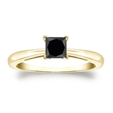 Certified 14k Yellow Gold 4-Prong  Black Diamond Solitaire Ring 0.75 ct. tw.