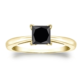 Certified 14k Yellow Gold 4-Prong  Black Diamond Solitaire Ring 1.25 ct. tw.