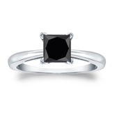 Certified Platinum 4-Prong  Black Diamond Solitaire Ring 1.50 ct. tw.