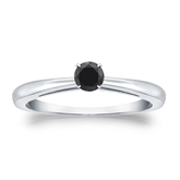Certified 14k White Gold 4-Prong  Black Diamond Solitaire Ring 0.25 ct. tw.