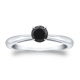 Certified Platinum 4-Prong  Black Diamond Solitaire Ring 0.50 ct. tw.