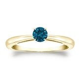 Certified 14k Yellow Gold 4-Prong Blue Diamond Solitaire Ring 0.25 ct. tw. (Blue, SI1-SI2)