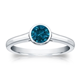 Certified 14k White Gold Bezel Round Blue Diamond Ring 0.50 ct. tw. (Blue, SI1-SI2)
