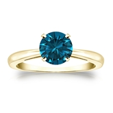 Certified 14k Yellow Gold 4-Prong Blue Diamond Solitaire Ring 1.00 ct. tw. (Blue, SI1-SI2)