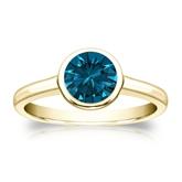 Certified 14k Yellow Gold Bezel Round Blue Diamond Ring 1.00 ct. tw. (Blue, I1-I2)