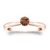 Certified 14k Rose Gold 4-Prong Brown Diamond Solitaire Ring 0.25 ct. tw. (Brown, SI1-SI2)