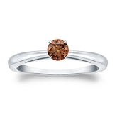 Certified 18k White Gold 4-Prong Brown Diamond Solitaire Ring 0.25 ct. tw. (Brown, SI1-SI2)
