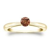 Certified 18k Yellow Gold 4-Prong Brown Diamond Solitaire Ring 0.25 ct. tw. (Brown, SI1-SI2)