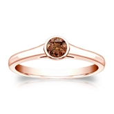 Certified 14k Rose Gold Bezel Round Brown Diamond Ring 0.25 ct. tw. (Brown, SI1-SI2)