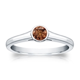Certified 18k White Gold Bezel Round Brown Diamond Ring 0.25 ct. tw. (Brown, SI1-SI2)