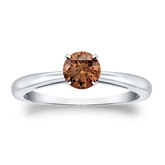 Certified 14k White Gold 4-Prong Brown Diamond Solitaire Ring 0.50 ct. tw. (Brown, SI1-SI2)