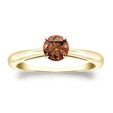 Certified 14k Yellow Gold 4-Prong Brown Diamond Solitaire Ring 0.50 ct. tw. (Brown, SI1-SI2)