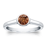 Certified 18k White Gold Bezel Round Brown Diamond Ring 0.50 ct. tw. (Brown, SI1-SI2)