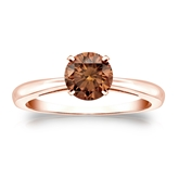 Certified 14k Rose Gold 4-Prong Brown Diamond Solitaire Ring 0.75 ct. tw. (Brown, SI1-SI2)