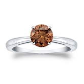 Certified 18k White Gold 4-Prong Brown Diamond Solitaire Ring 0.75 ct. tw. (Brown, SI1-SI2)