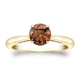 Certified 18k Yellow Gold 4-Prong Brown Diamond Solitaire Ring 0.75 ct. tw. (Brown, SI1-SI2)