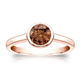 Certified 14k Rose Gold Bezel Round Brown Diamond Ring 0.75 ct. tw. (Brown, SI1-SI2)