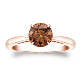 Certified 14k Rose Gold 4-Prong Brown Diamond Solitaire Ring 1.00 ct. tw. (Brown, SI1-SI2)