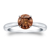 Certified Platinum 4-Prong Brown Diamond Solitaire Ring 1.00 ct. tw. (Brown, SI1-SI2)