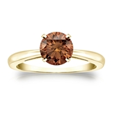Certified 14k Yellow Gold 4-Prong Brown Diamond Solitaire Ring 1.00 ct. tw. (Brown, SI1-SI2)