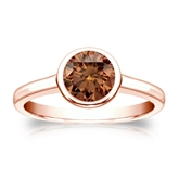 Certified 14k Rose Gold Bezel Round Brown Diamond Ring 1.00 ct. tw. (Brown, SI1-SI2)