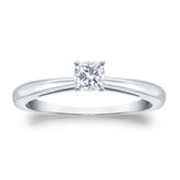 Certified 18k White Gold 4-Prong Cushion Diamond Solitaire Ring 0.25 ct. tw. (I-J, I1-I2)