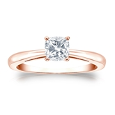 Certified 14k Rose Gold 4-Prong Cushion Diamond Solitaire Ring 0.50 ct. tw. (H-I, I1)