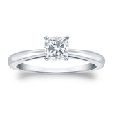 Certified 14k White Gold 4-Prong Cushion Diamond Solitaire Ring 0.50 ct. tw. (I-J, I1-I2)