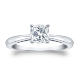 Certified 14k White Gold 4-Prong Cushion Diamond Solitaire Ring 0.75 ct. tw. (I-J, I1-I2)