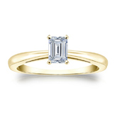 Certified 18k Yellow Gold 4-Prong Emerald Diamond Solitaire Ring 0.33 ct. tw. (I-J, I1-I2)