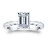 Certified 14k White Gold 4-Prong Emerald Diamond Solitaire Ring 1.00 ct. tw. (H-I, SI1-SI2)