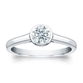 Certified 14k White Gold Bezel Hearts & Arrows Diamond Solitaire Ring 0.50 ct. tw. (H-I, I1-I2)