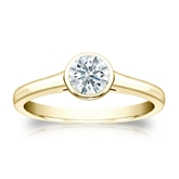 Certified 18k Yellow Gold Bezel Hearts & Arrows Diamond Solitaire Ring 0.50 ct. tw. (F-G, VS1-VS2)