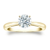 Certified 18k Yellow Gold 4-Prong Hearts & Arrows Diamond Solitaire Ring 0.75 ct. tw. (H-I, I1-I2)