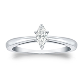 Certified 18k White Gold V-End Prong Marquise Diamond Solitaire Ring 0.33 ct. tw. (I-J, I1-I2)