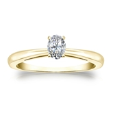 Certified 14k Yellow Gold 4-Prong Oval Diamond Solitaire Ring 0.25 ct. tw. (I-J, I1-I2)