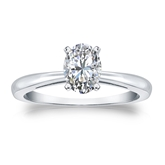 Certified 14k White Gold 4-Prong Oval Diamond Solitaire Ring 0.75 ct. tw. (H-I, SI1-SI2)