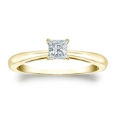 Certified 14k Yellow Gold 4-Prong Princess Diamond Solitaire Ring 0.25 ct. tw. (I-J, I1-I2)